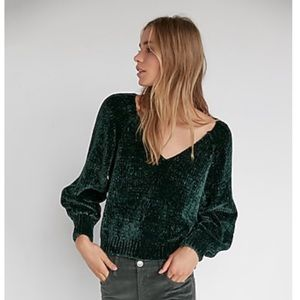 EXPRESS | Green Chenille V-Neck Sweater | S
